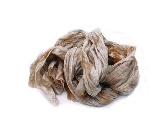 beige silk scarf - Caramel - beige, light brown, caramel silk scarf.