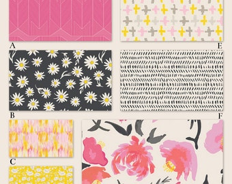 Girl in Bright Pink, Ink and Yellow Floral Custom Crib Baby Bedding Set in,  YOU DESIGN - Wonderful in Ink