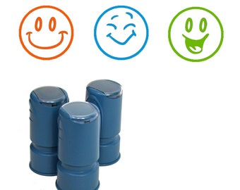 3 Happy Face Stamps, Self Inking Rubber Smiley Face Stamps for Teachers, Scrapbooking, Kids, Business and anyone who likes happy faces