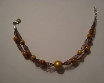 Bracelet in shades of Brown and yellow mustard