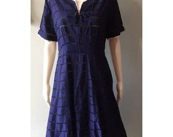 Navy Blue  1950's dress with beautiful rhinestone details