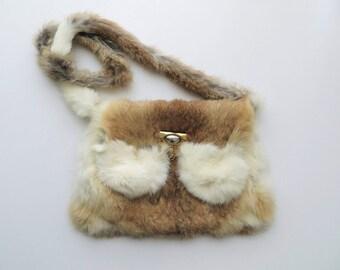 Vintage Genuine Rabbit Purse Evening Bag Handmade Shoulder Bag 1970's Boho