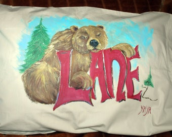 Sleeping Grizzly Bear Personalized Hand Painted Tan Pillowcase