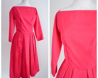 1950s 60s Fuschia pink satin party dress / 1960s 50s Wide square neck pleated skirt cocktail dress - M