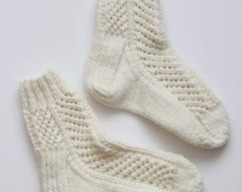 Hand-knitted Wool Socks CREME FRAICHE By VidaFelt - Size 36-38 - Free Shipping!