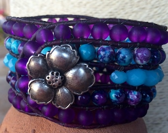 Beaded Cuff Wrap Bracelet, jade gemstone, purple frosted glass and faceted glass beads with metal hibiscus button closure