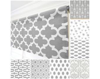 Grey Window Valance.Gray Curtain Valance.Gray White Modern Valance. WindowValance.Kitchen Valance.Gray Window Treatment Valance
