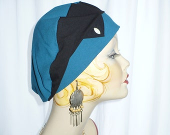 Teal and Black Cotton Jersey Beret, Chemo Hat