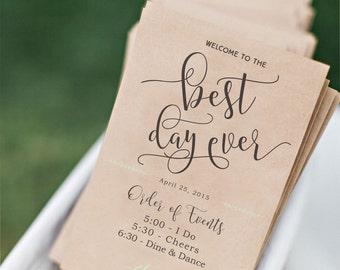 Wedding Program Fan Template, Printable Wedding Program, Fun Wedding Program - INSTANT DOWNLOAD