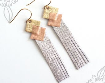 leather earring gold-filled
