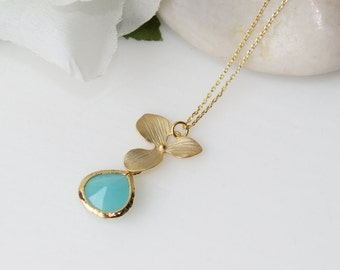 Gold Orchid Flower Necklace, Wedding Jewelry , Bridesmaid Jewelry, Gold Jewelry