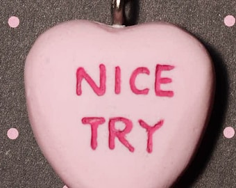 Candy Heart necklace Jewelry - Creepy Cute Valentine  Necklace  - Nice Try- Pink