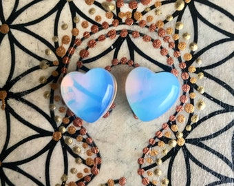 "Pair of Genuine Opalite Heart Plugs, Double Flared, Gauge Earrings, Crystal plugs, 00, 9/16"", 1/2"", 5/8"", 3/4"", 10mm, 12mm, 14mm, 16mm, 19mm"