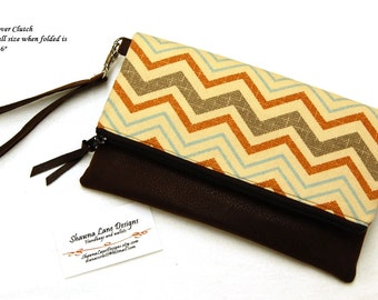 women's gift, foldover clutch, wristlet, brown chevron handbag, faux leather, ready to ship gift, women's accessory, purse