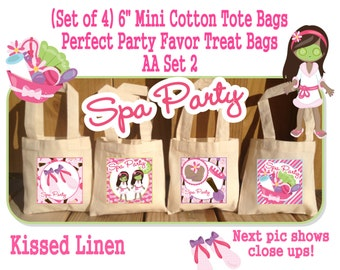 African American Spa Party Treat Favor Gift Bags Mini Cotton Totes Children Kids Girl Birthday Party Baby Bridal Shower -Sets of 4 or 8