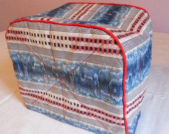 Blue and red stripes print cotton 2 slice toaster cover,  ready to ship