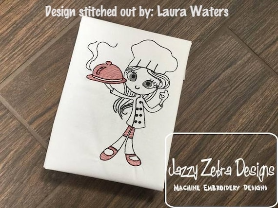 Swirly girl chef 1 sketch embroidery design - girl embroidery design - chef embroidery design - cook embroidery design - sketch embroidery