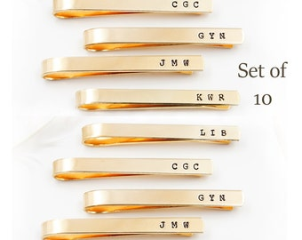 Set of 10 Tie Clips,  Personalized Tie Bars, Groomsmen, Hand Stamped Tie Bar Set - Groom's gift - Father of the Bride - Wedding Accessories
