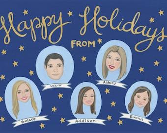 Custom Holiday Card Portrait - Custom Christmas Card - Custom Family Portrait - Custom Illustrated Portraits- Starry Night Holiday Card
