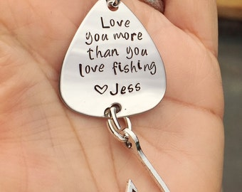 Fishing Keychain, Fishing, Boyfriend Gift, Fishing Lure, Personalized Fishing Lure, Love You More Than You Love Fishing