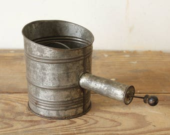 Vintage Rustic Primitive Metal Flour Sifter H.S.B. & Company Extra 6 Sifter