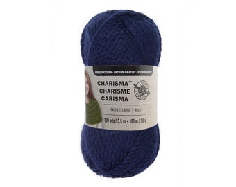 DARK BLUE. Charisma Loops and Threads Yarn. This Textured Bulky Solid Blue acrylic Yarn is a nice Navy Blue shade. 3.5oz Acrylic 109yds ±