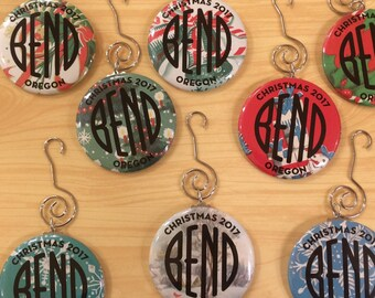 Bend Oregon - 2017 Holiday Ornament - Made with Vintage gift wrap - by Via Delia
