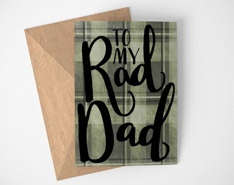 Rad Dad Card - Cool Day Card - Flannel Wearing Dad Card - Father's Day Card - Happy Father's Day Card - Fun Dad Card