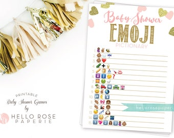 Baby Shower Emoji Pictionary . African American Emoji Pictionary Baby Shower Game . Pink Gold Baby Shower Girl . Printable Instant Download