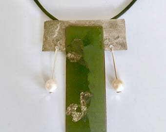EnamelArt vitreous enamel & Sterling Pendant