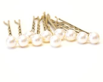 Ivory Pearl Wedding Hair Pins. Set of 10, Blonde Hair Grips. 8mm Swarovski Crystal Pearls. Bridal Hair Accessories. Wedding Hair Accessories