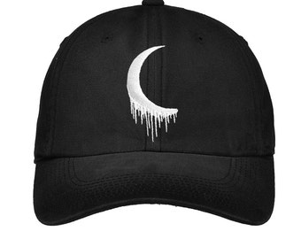 Embroidered Edgy Goth Tumblr Crescent Moon Hat