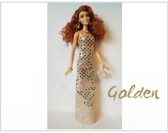 TALL Barbie Fashionistas Doll Clothes - GOLDEN Gown, hand-beaded Purse and Jewelry - Handmade Fashion by dolls4emma