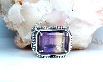 Handmade Pendant, Ametrine, Sterling Silver, Necklace, Gemstone, Jewelry Design, Free Shipping