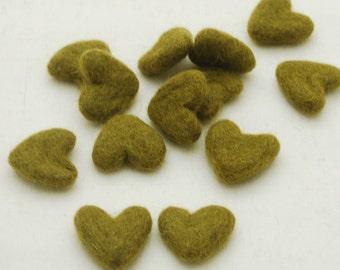3cm 100% Wool Felt Hearts - 10 Count - Olive Green