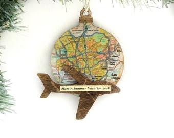 Plane Ornament, Personalized Vacation Ornament, Travel Map Ornament, Airplane Ornament, Trip Ornament, Personalized Travel Ornament