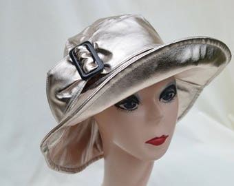 Women's Rose Gold Metalic Nylon Waterproof Rain Hat / Metalic Rose Gold Rain Hat / Fashion Rain Hat / Chic Women's Winter Water Proof Hat