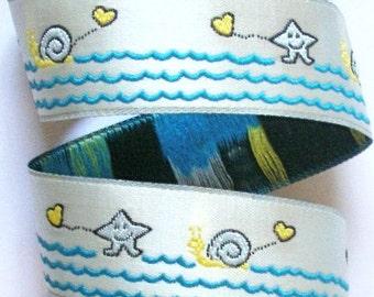 "Jacquard Ribbon 1""  Lt Blue, Blue and Yellow Sea Shells, Ocean, Beach Ribbon"
