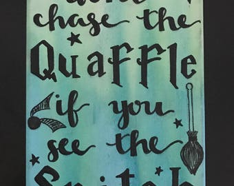 """Harry Potter Quidditch MINI 5 x 7"""" Hand-Painted Canvas"""