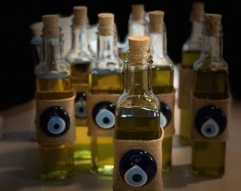 Olive oil favor with evil eye