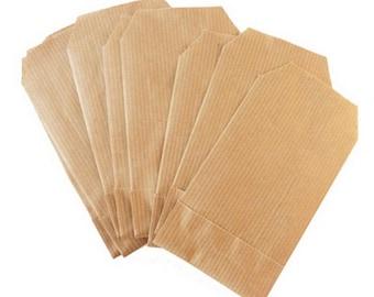 X 100 Mini Sachets en papier kraft 7 x 12 cm- Pochettes cadeaux kraft  - Idéal cadeaux d'invités - Mariage, Baptême,Boutique, Emballage