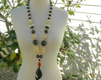 LONG Whale Necklace, Horn Pendant, African Bone & Wood Beads, Weird and Wild Things Series, Statement Necklace with 'tude, by SandraDesigns