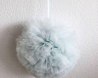 tulle pom pom balls. nursery decor. wedding decor. baby shower decor. party decor. Pom Pom ball.