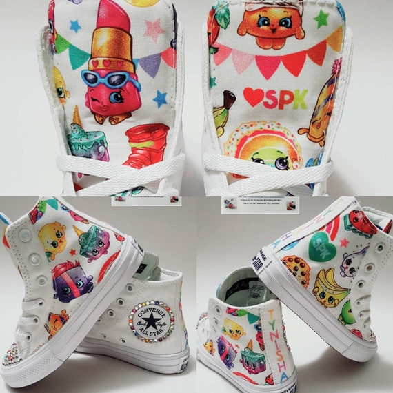 Items similar to Bling Crystal Shopkins Converse, Rainbow shoes, bedazzled  shoes, Girl birthday chucks, girl sneakers, Shopkin Birthday by  hallwayzdesigns ...