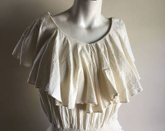 vintage. 70s Cream Gauze Cotton Dress // M L