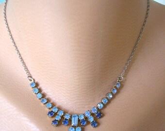 Christmas Gift, Blue Rhinestone Necklace, Party Necklace, Prom Jewelry, Great Gatsby, Bridal jewelry, Blue Wedding Jewelry, Art Deco
