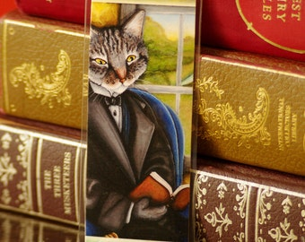 Cat Reading Book Bookmark Grey Tabby Literary Cats Laminated Paper Bookmark