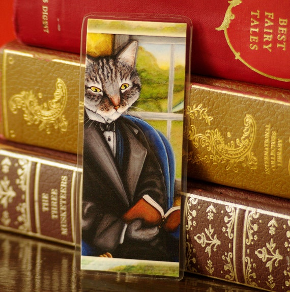 Literary Cat Reading Bookmark