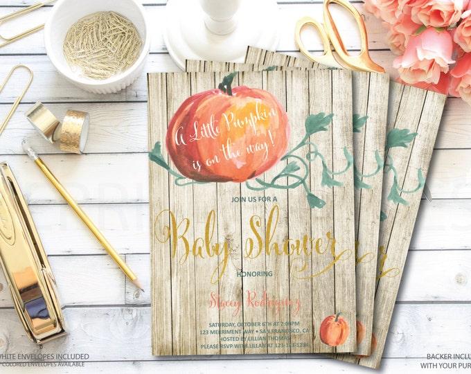 Pumpkin Baby Shower Invitation // Little Pumpkin // Wood // Watercolor // Faux Gold Foil // Stripes // NEW ENGLAND COLLECTION