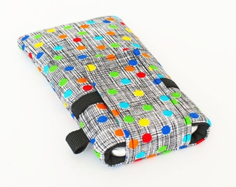 Smartphone Covers, Galaxy Note Pouch, Mobile Phone Sleeve, Cute Cell Phone Accessories  - colorful dots in black and white crosshatch